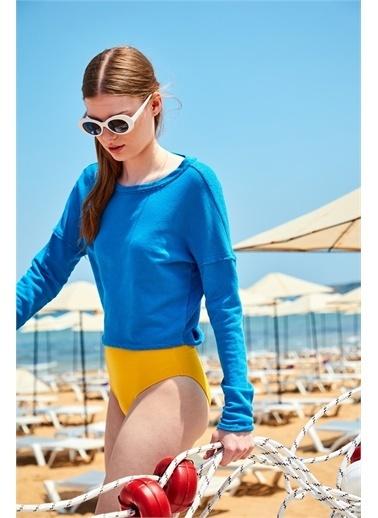 Latin Quarter Geniş Yaka Arkası Çapraz Dekolteli Regular Fit Sweatshirt Mavi